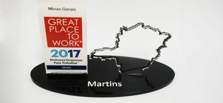 Martins está entre as melhores empresas para se trabalhar em Minas Gerais pela GPTW